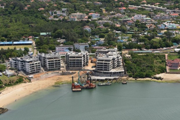 All of EnglishPoint with the water in front and green spaces behind