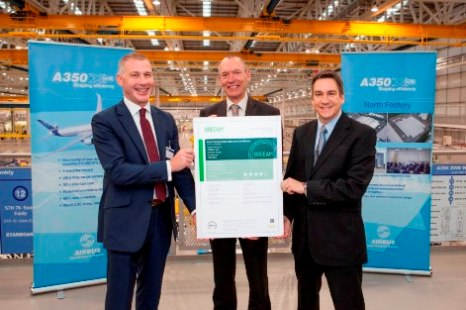 John Griffiths AM and Martin Townsend, Director of BREEAM pleased to present award to Airbus Gareth Davies, Head of Wing Industrialisation
